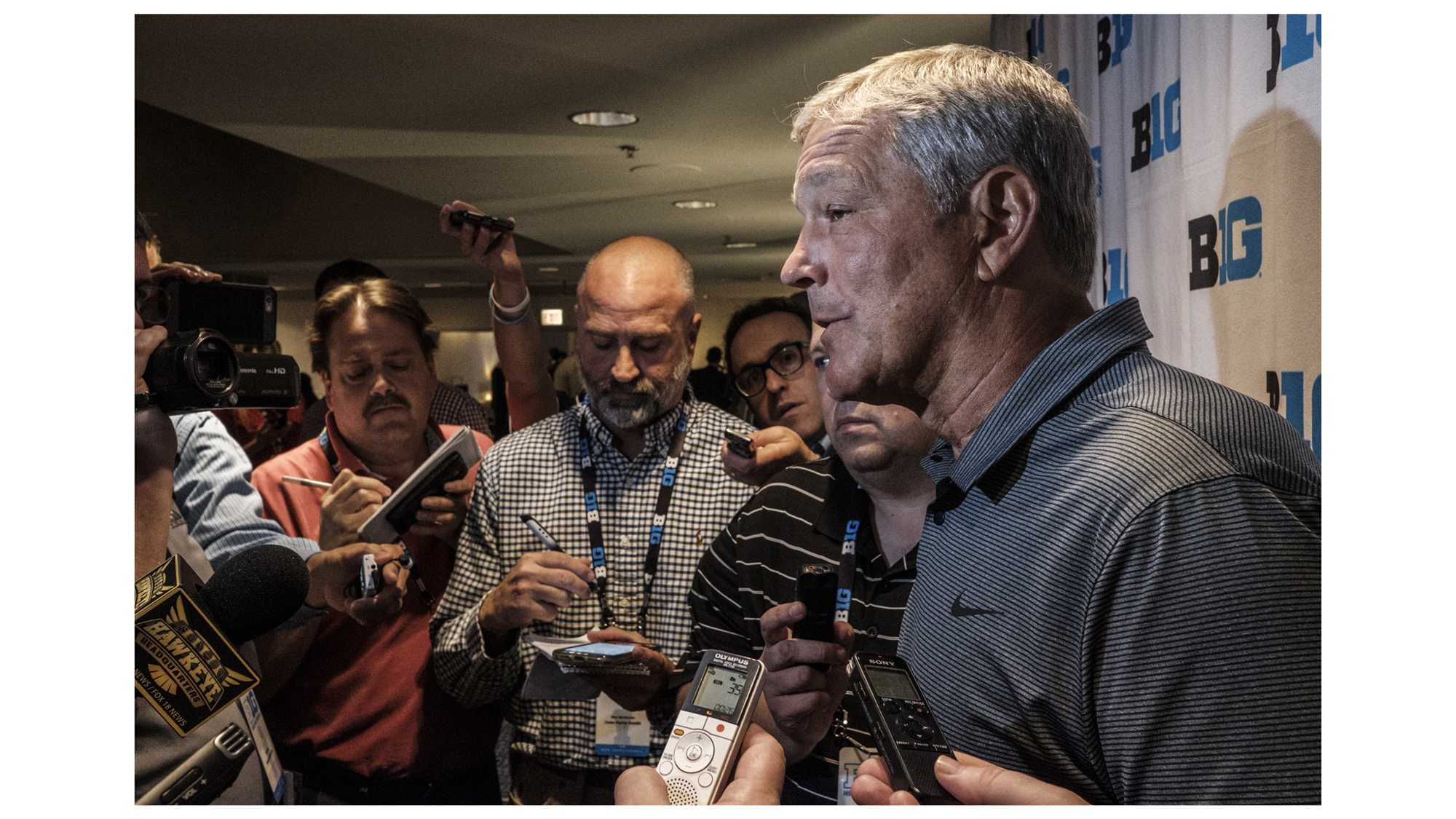 Iowa Head Coach Kirk Ferentz speaks with the media during Big Ten Football Media Days in Chicago on Monday, July 23, 2018. (Nick Rohlman/The Daily Iowan)