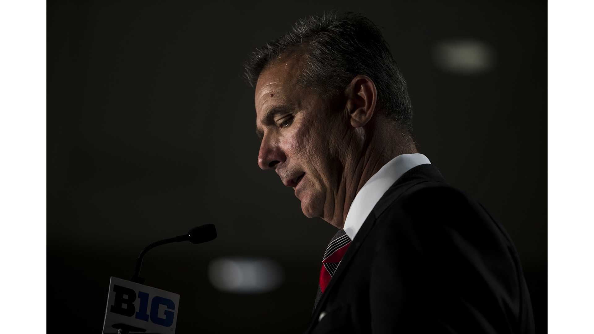 Ohio State Head Coach Urban Meyer addresses the media during Big Ten Football Media Days in Chicago on Tuesday, July 24, 2018. Meyer fired Wide Receivers coach Zach Smith on Monday amid allegations of domestic violence.