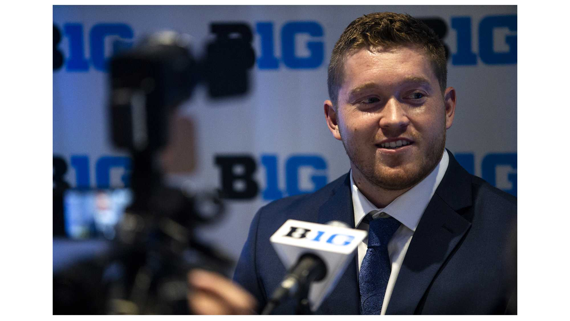 Iowa defensive end Parker Hesse addresses the media during Big Ten Football Media Days in Chicago on Tuesday, July 24, 2018. (Nick Rohlman/The Daily Iowan)