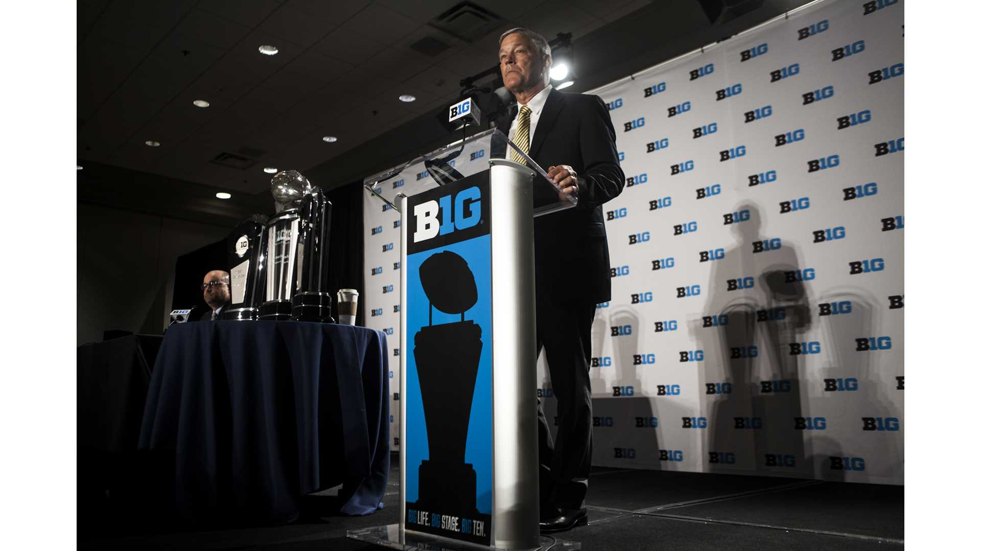 Iowa Head Coach Kirk Ferentz addresses the media during Big Ten Football Media Days in Chicago on Tuesday, July 24, 2018. (Nick Rohlman/The Daily Iowan)