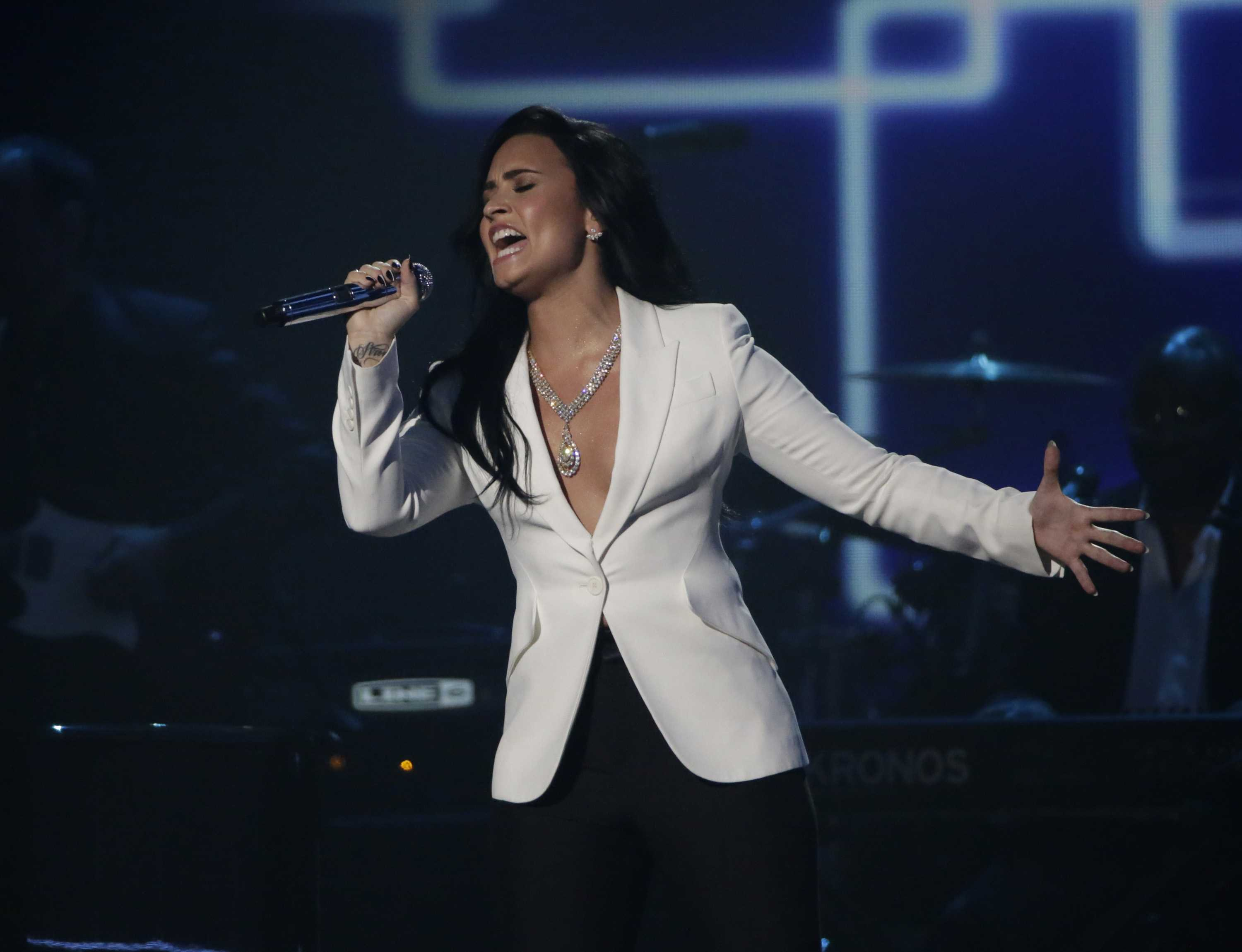Demi Lovato performs at the 58th Annual Grammy Awards on Monday, Feb. 15, 2016, at the Staples Center in Los Angeles. (Robert Gauthier/Los Angeles Times/TNS)