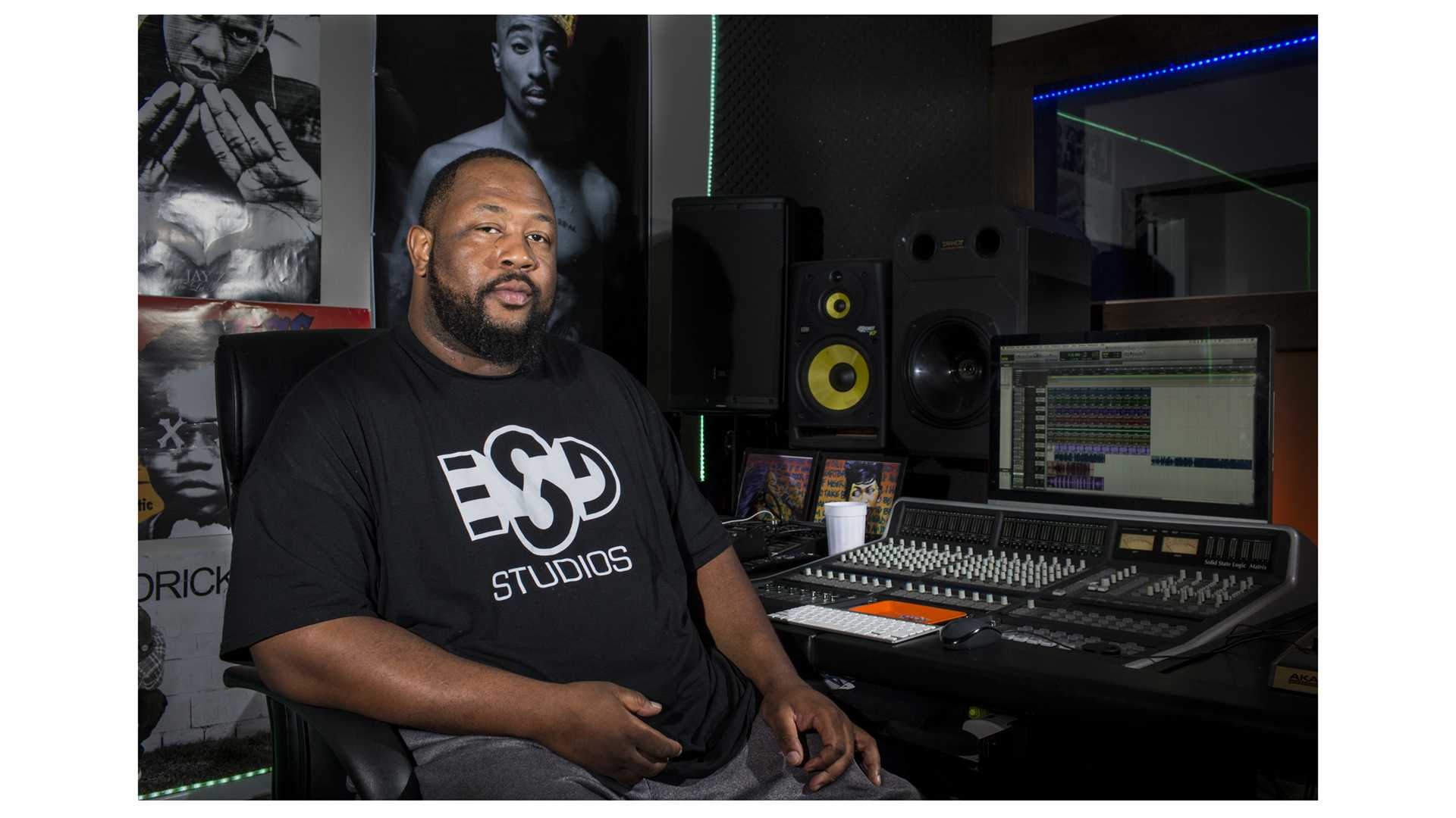 Tyrell Thornton sits for a portrait in his recording studio in Iowa City on Sunday, July 15, 2018. Thornton, who produces as