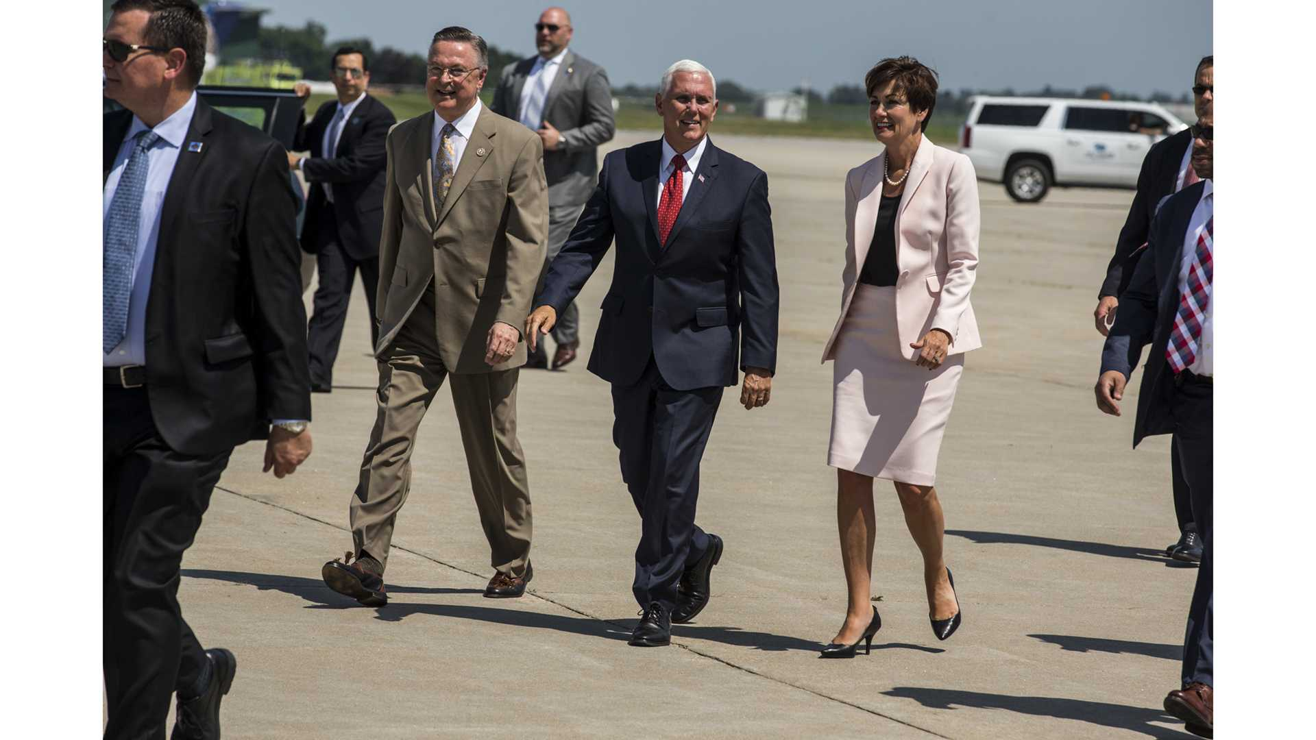 U.S. Representative Rod Blum, Vice President Mike Pence and Iowa Governor Kim Reynolds great supporters at the Eastern Iowa Airport in Cedar Rapids, IA on Wednesday, July 11, 2018. (Nick Rohlman/The Daily Iowan)