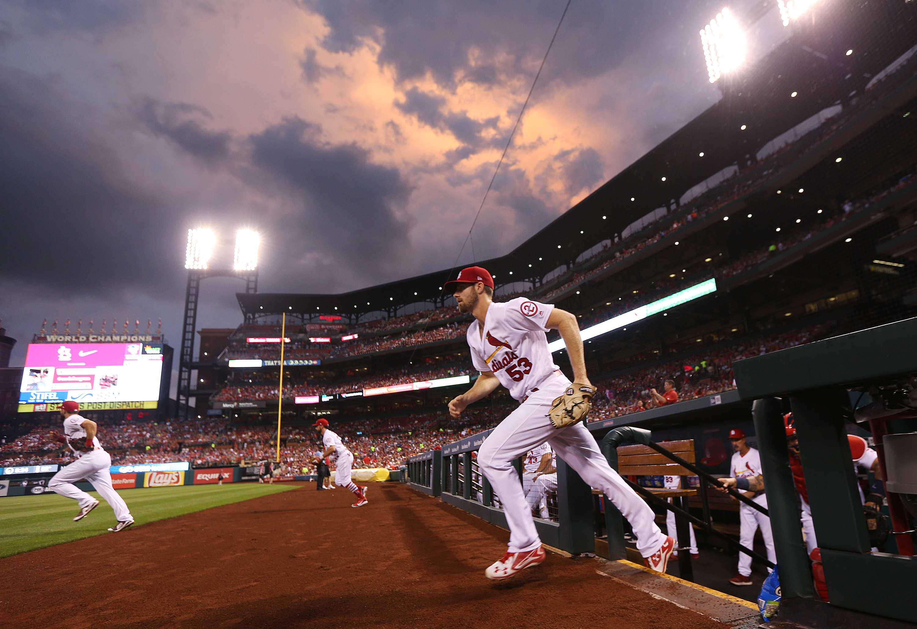 St. Louis Cardinals pitcher John Gant and the Cardinals take the field for a game between the St. Louis Cardinals and the Cleveland Indians at Busch Stadium on Monday,  June 25, 2018, in St. Louis, Mo. The Cardinals won, 4-0. (Chris Lee/St. Louis Post-Dispatch/TNS)