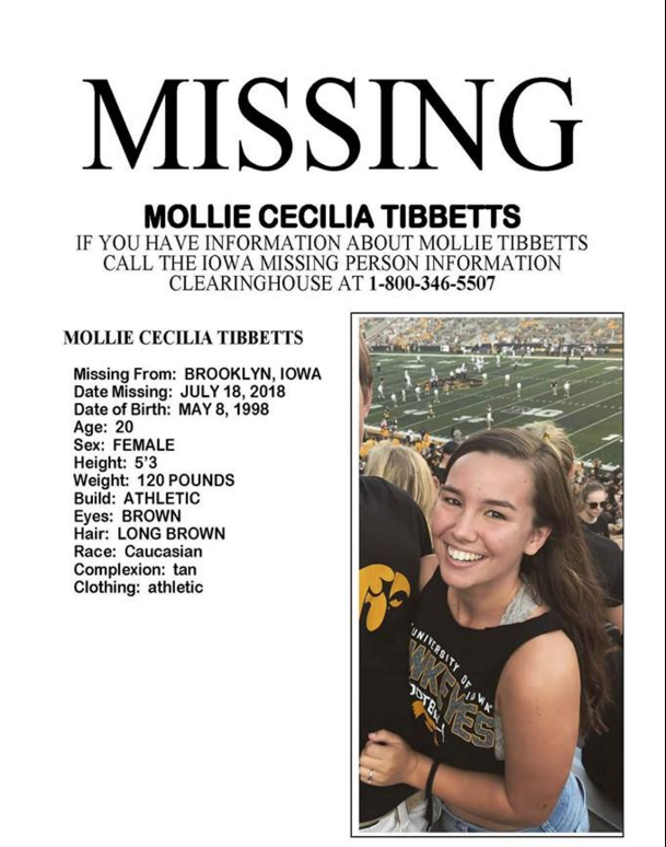A missing poster shared on Facebook of Mollie Tibbetts. (Polly Klass Search Center)
