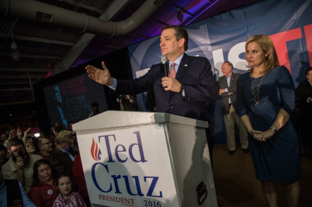 Presidential candidate Sen. Ted Cruz, R-Texas holds a caucus night watch party  at the Iowa State Fair Elwell Center in Des Moines, Iowa on Monday Feb. 1, 2016. Senator Ted Cruz celebrated a 28 to 24 percent victory over fellow Republican presidential candidate Donald Trump. (The Daily Iowan/Anthony Vazquez)