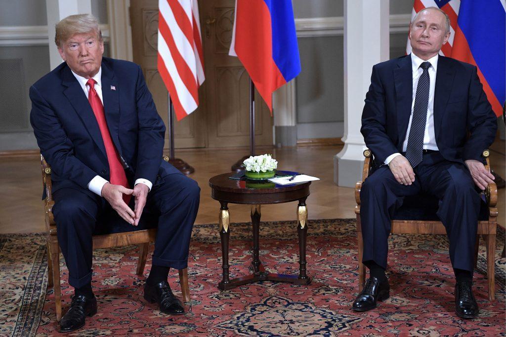 U.S.+President+Donald+Trump%2C+left%2C+and+Russian+President+Vladimir+Putin+during+a+meeting+on+Monday%2C+July+16%2C+2018+in+Helsinki%2C+Finland.+%28Nikolsky+Alexei%2FTASS%2FZuma+Press%2FTNS%29