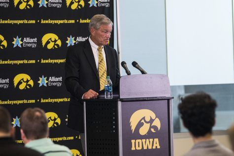 Iowa football head coach Kirk Ferentz answers questions at a press conference in Carver-Hawkeye Arena during Iowa Football Media Day on Friday, August 10, 2018. Iowa will open the 2018 football season at home against Northern Illinois on Saturday, September 1.