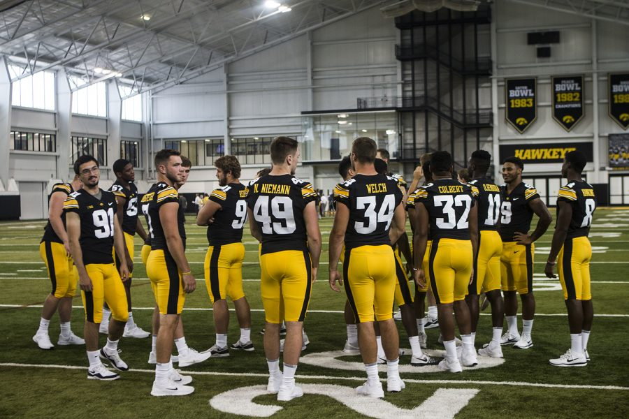 The+Iowa+defensive+players+talk+with+their+teammates+in+the+University+of+Iowa+Indoor+Practice+Facility+during+Iowa+Football+Media+Day+on+Friday%2C+August+10%2C+2018.+Iowa+will+open+the+2018+football+season+at+home+against+Northern+Illinois+on+Saturday%2C+September+1.+