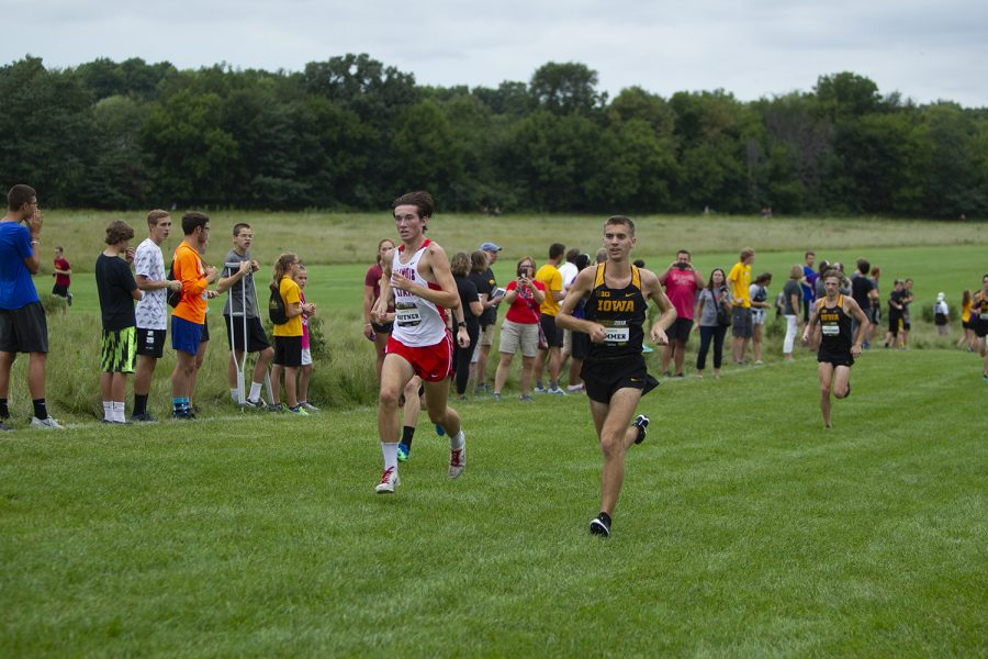 Junior Karson Summer races to the finish line in the Men's 6k at the Hawkeye Invitational on Friday, August 31, 2018 at Ashton Cross Country Course. Iowa State won the meet with a score of 15, while the Hawkeyes finished second with a score of 63. Sommer finished 23rd.