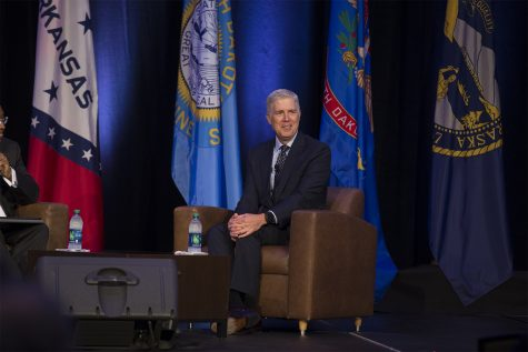 U.S. Supreme Court Justice Neil Gorsuch speaks during the Eighth Circuit Judicial Conference. He discussed his life as a Supreme Court Justice and his friendships with his colleagues.
