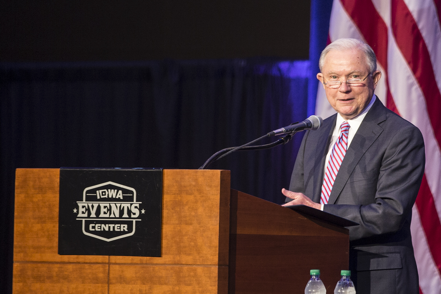 U.S. Attorney General Jeff Sessions spoke at the Eighth Circuit Judicial Conference at the Iowa Events Center in Des Moines Friday, August 17, 2018. Sessions spoke to a group of judges supporting President Trump's U.S. Supreme Court nomination, Brett Kavanaugh.