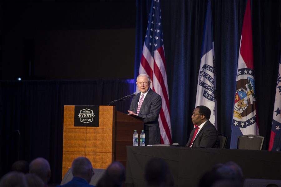 U.S. Attorney General Jeff Sessions spoke at the Eighth Circuit Judicial Conference at the Iowa Events Center in Des Moines Friday, August 17. Sessions spoke to a group of judges supporting President Trump's U.S. Supreme Court nomination, Brett Kavanagh.