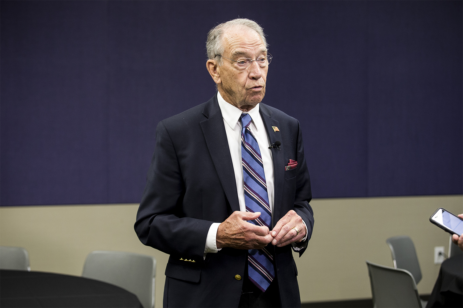Then-Senate Judiciary Committee Chair Chuck Grassley, R-Iowa, talks to reporters at the Eight Circuit Judicial Conference in Des Moines on Friday, Aug. 17, 2018.