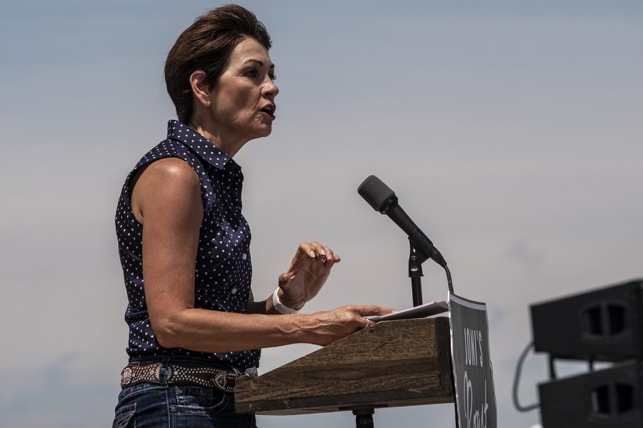 Gov. Kim Reynolds speaks during Joni Ernst's Roast and Ride on Saturday, June 9, 2018. The event raises money for veterans charities and provides a platform for state and national Republican officials to speak.