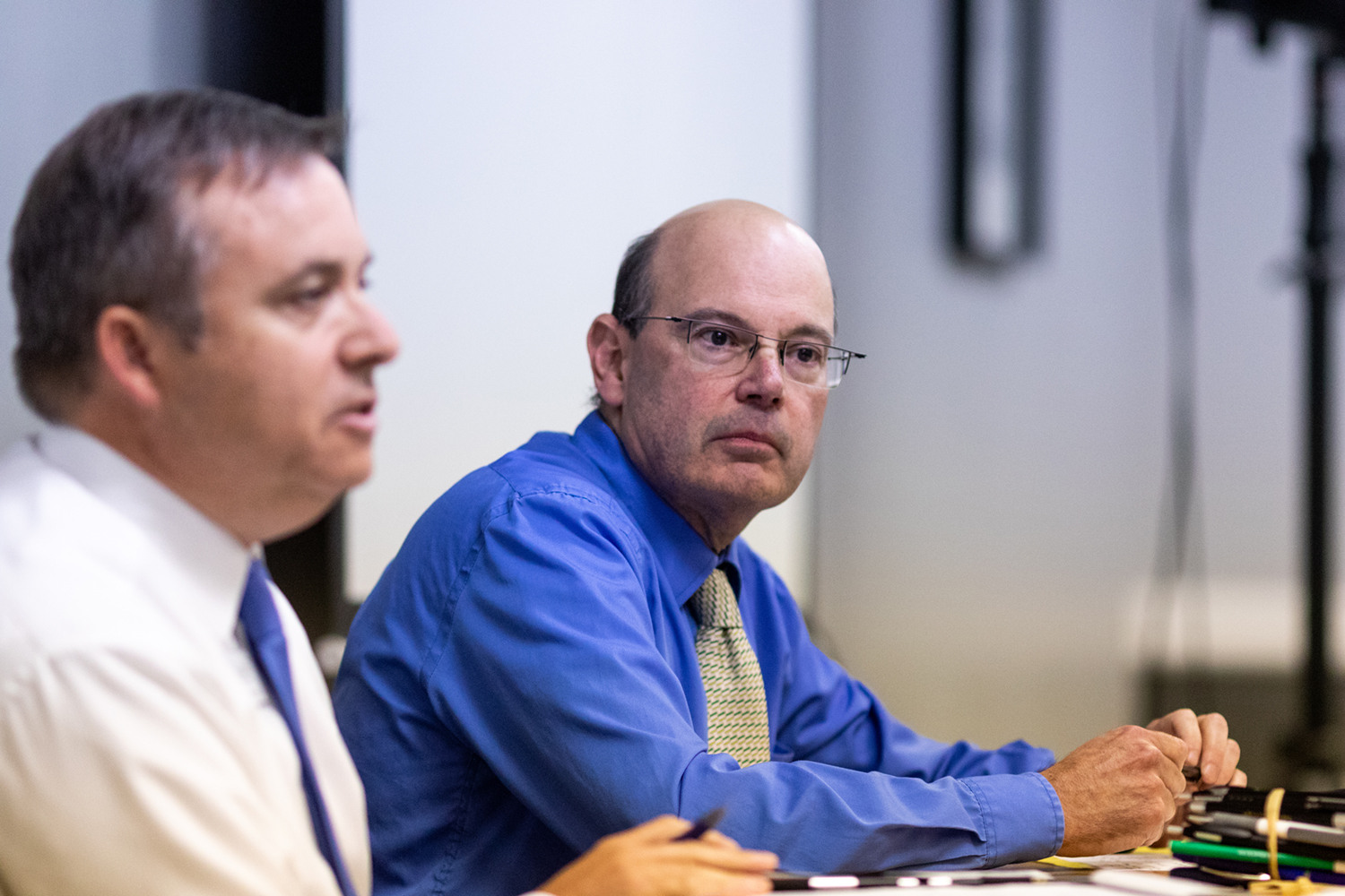 Professor Russell Ganim (right), President of the University of Iowa Faculty Senate, leads a discussion with forum attendees during the provost search committee open forum in the IMU on Thursday, Aug. 23, 2018.