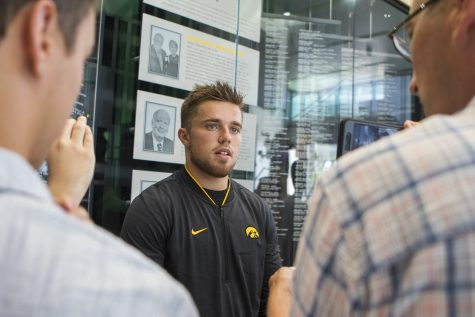 Iowa football wide receiver Nick Easley speaks to members of the media during media availability at the Hansen Football Performance Center on Tuesday, August 28, 2018. The Hawkeyes begin their season on Saturday, September 1, against Northern Illinois, at Kinnick Stadium. (Lily Smith/The Daily Iowan)