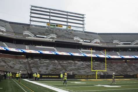 Members of the media tour north end zone construction at Kinnick Stadium on Tuesday, August 28, 2018. Construction is set to be completely finished by the 2019 football season, with outdoor club seating ready for the 2018 season. The Hawkeyes open their season at Kinnick Stadium on Saturday, September 1, against Northern Illinois. (Lily Smith/The Daily Iowan)