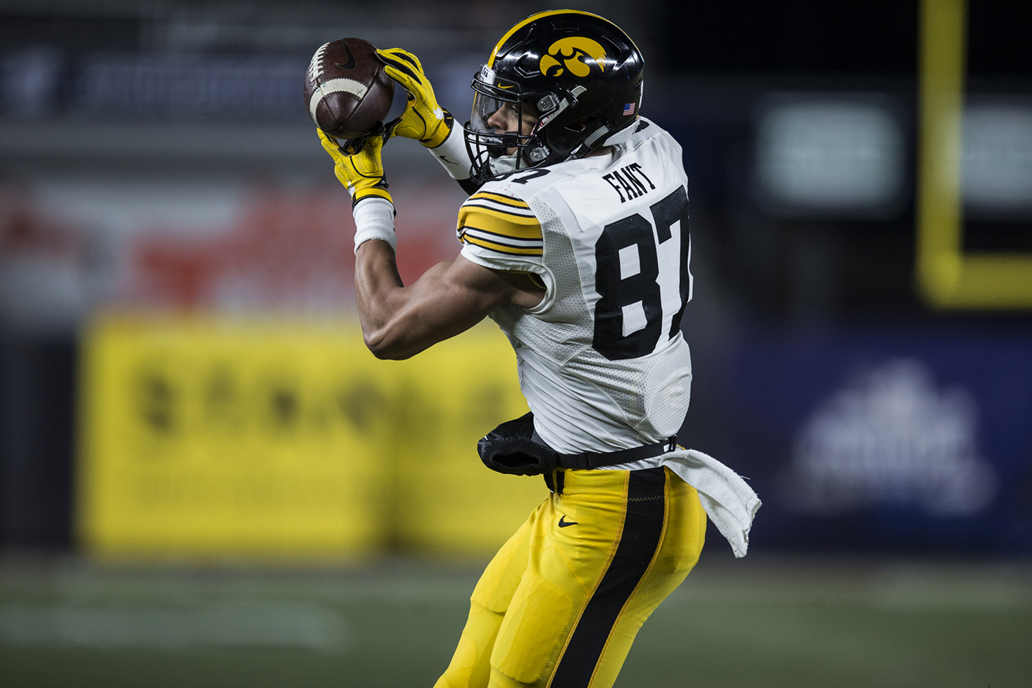 Iowa tight end Noah Fant (87) catches a touchdown pass during the New Era Pinstripe Bowl at Yankee Stadium in New York on Wednesday, Dec. 27. The Hawkeyes went on to win 27-20.
