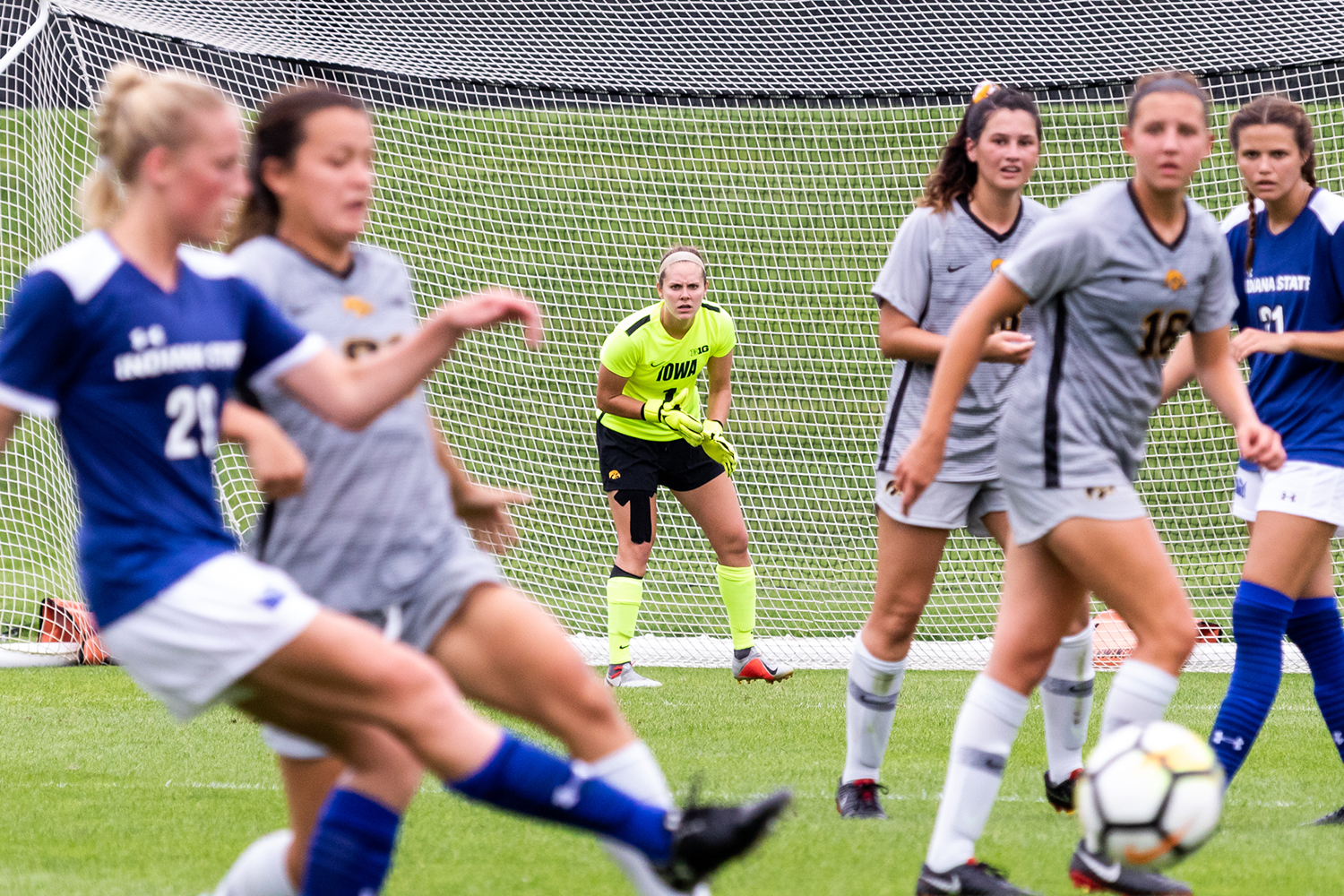 University of Iowa soccer player Claire Graves watches the action from her goal line during a game against Indiana State University on Sunday, Aug. 26, 2018. The Hawkeyes defeated the Sycamores 1-0.