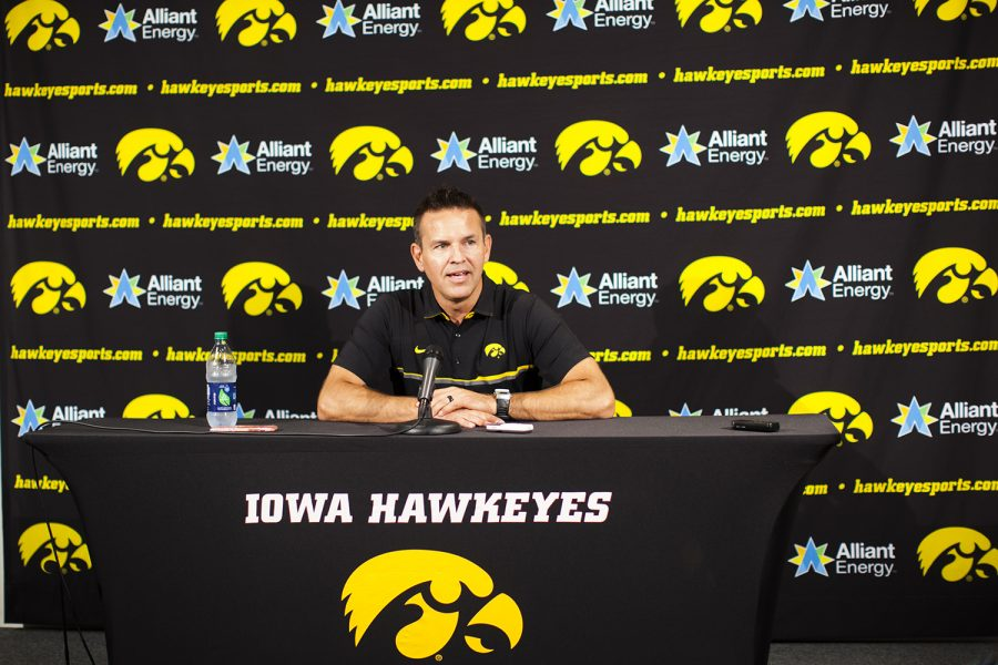 Iowa+Volleyball+head+coach+Bond+Shymansky+speaks+to+the+media+at+Iowa+Volleyball+Media+Day+at+Carver+Hawkeye+Arena+on+Friday%2C+August+17%2C+2018.+The+Hawkeyes+kick+off+their+2018+season+on+August+25+against+Southern+Methodist+University+at+the+LUV+Invitational+in+Nashville%2C+Tennessee%2C+and+open+at+home+on+September+9+against+Eastern+Illinois.+%28Lily+Smith%2FThe+Daily+Iowan%29