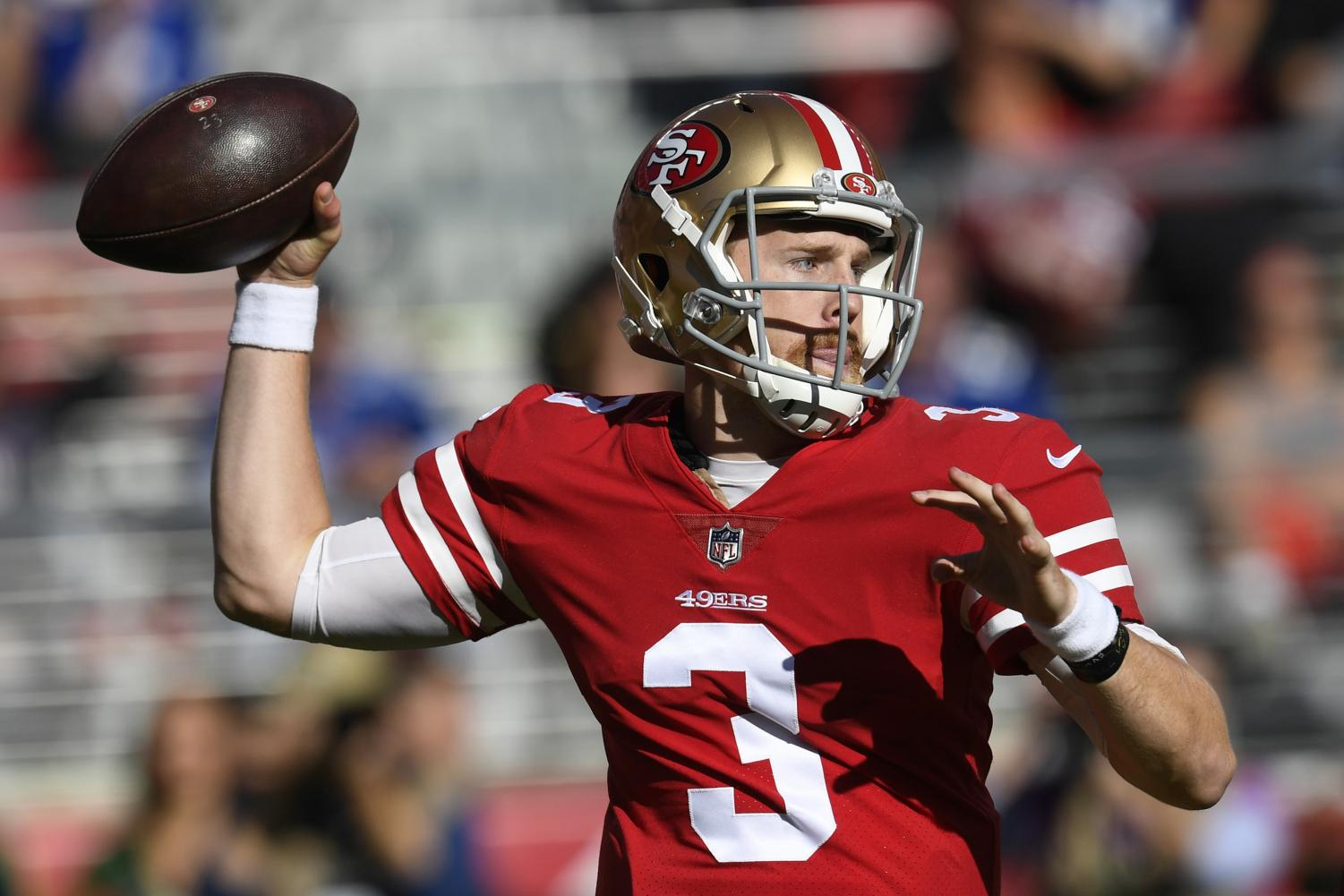 San Francisco 49ers quarterback C.J. Beathard (3) prepares to make a pass against the New York Giants during the first quarter Sunday, Nov. 12, 2017 in Santa Clara, Calif. The 49ers won, 31-21. (Jose Carlos Fajardo/Bay Area News Group/TNS)
