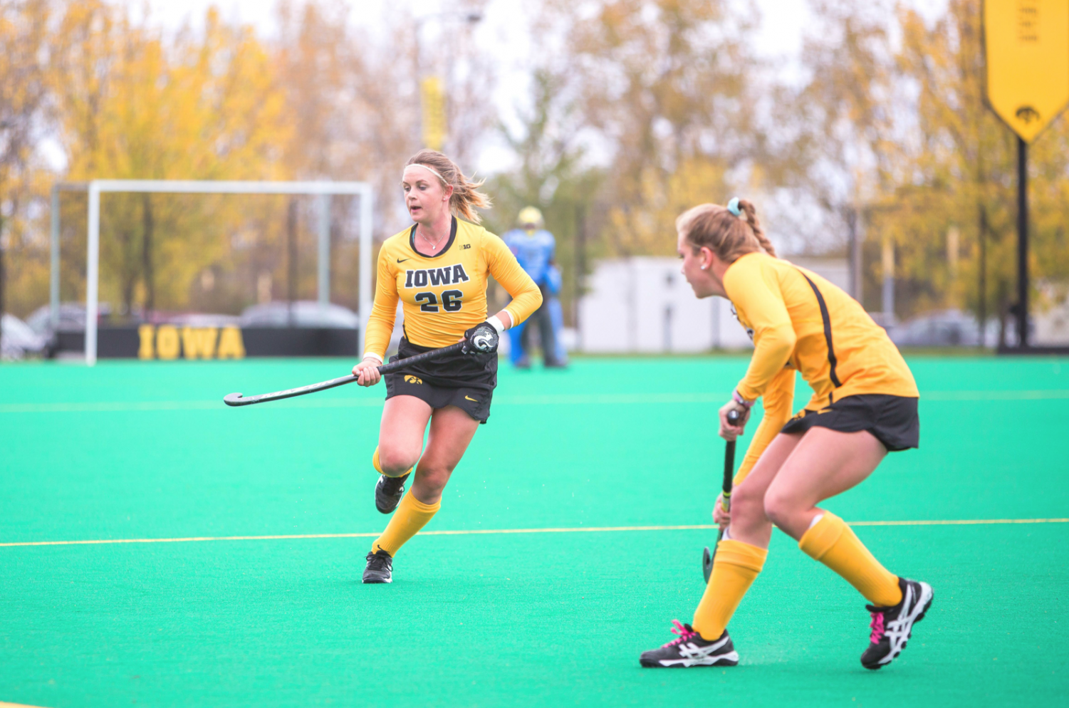 Iowa field-hockey forward Maddy Murphy looks toward the sideline against Michigan on Oct. 15, 2017.  The Wolverines defeated the Hawkeyes, 3-2.