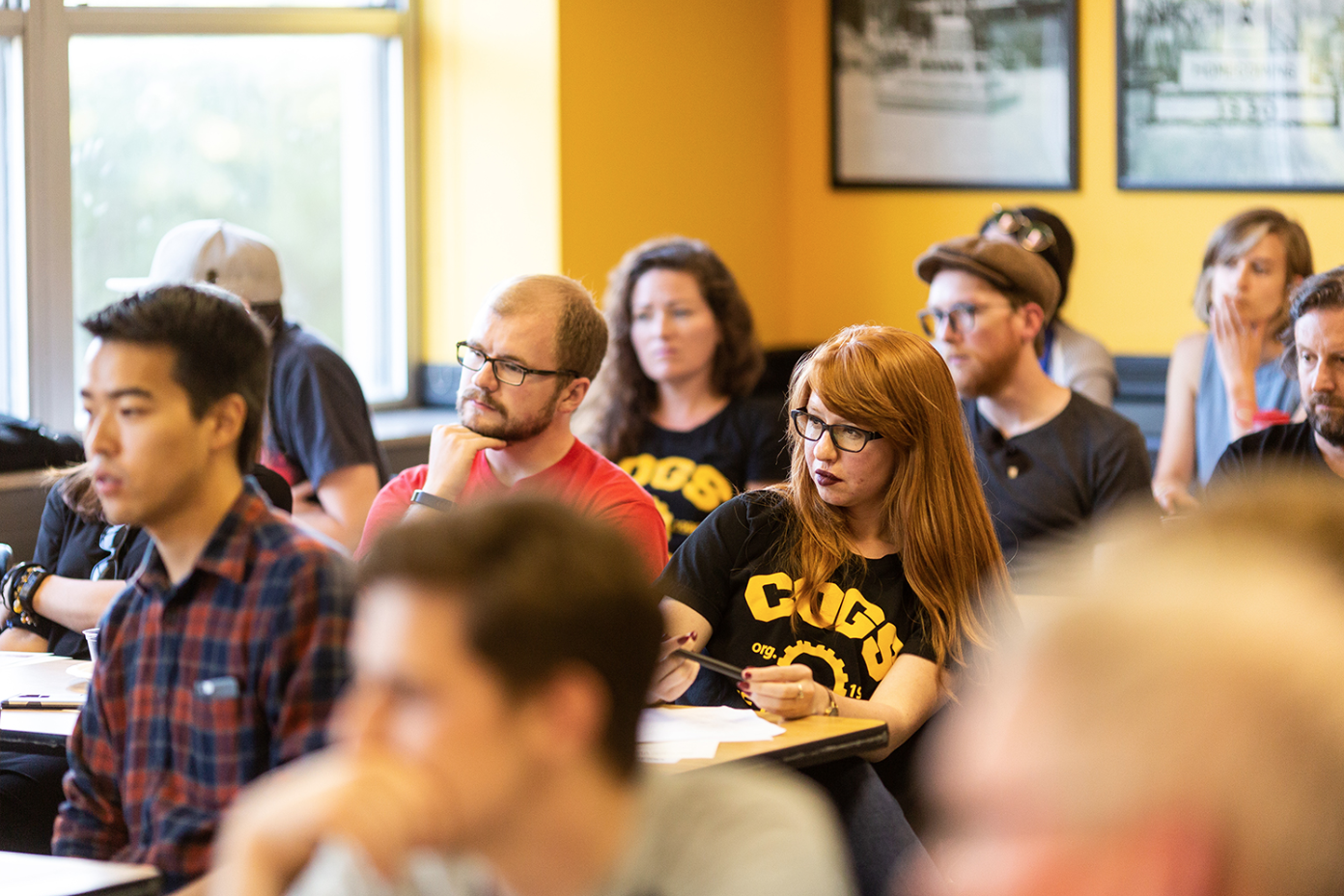 Ashley Dorn, a history graduate student and TA listens to a speaker at a meeting to discuss how to save the UI Labor Center at the IMU on Wednesday, Aug., 29, 2018.