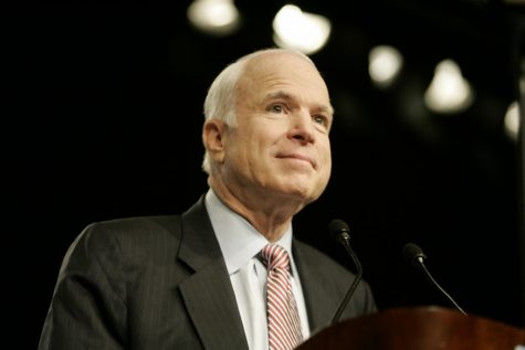 Sen. John McCain receives the applause from the audience before beginning a foreign policy address to the World Affairs Council in Los Angeles in March 2008 at the Westin Bonaventure Hotel. He talked about a collaborative foreign policy with input of allies abroad that differs from the go-it-alone approach of President Bush. (Annie Wells/Los Angeles Times/TNS)