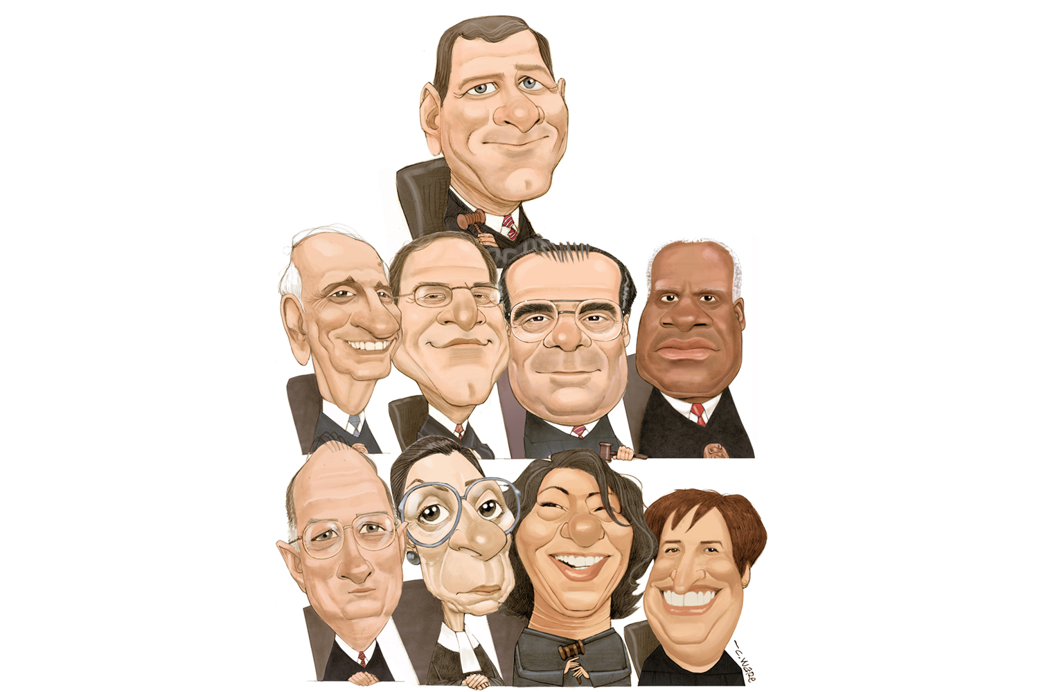 Chris Ware color caricature montage of all nine U.S. Supreme Court Justices (from top, then left, John Roberts, Stephen Breyer, Samuel Alito, Antonin Scalia, Clarence Thomas, Anthony Kennedy, Ruth Bader Ginsberg, Sonia Sotamayor, Elena Kagan). MCT 2011
