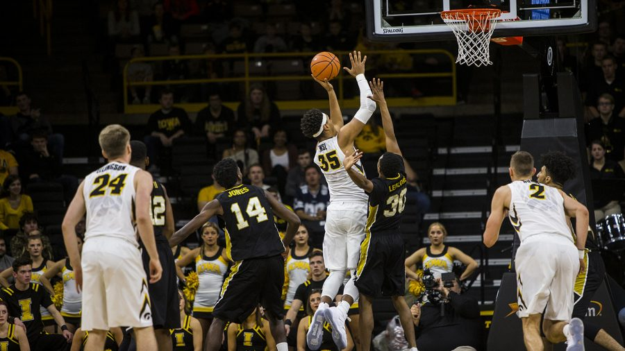 Iowa+forward+Cordell+Pemsl+drives+for+a+layup+against+Alabama+State+in+Carver-Hawkeye+on+Nov.+12%2C+2017.+The+Hawkeyes+defeated+the+Hornets%2C+92-58.