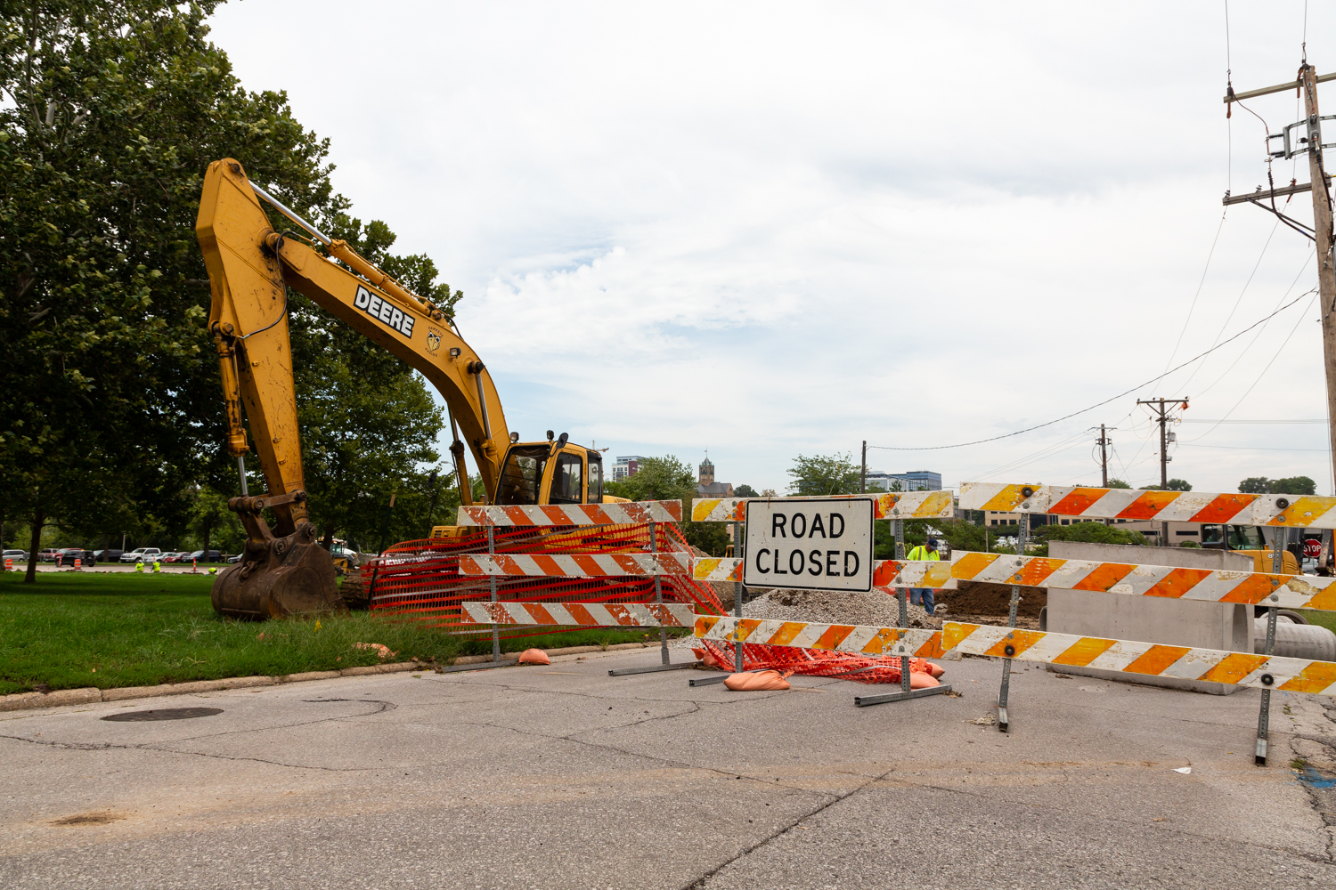 Road construction signs on Myrtle Avenue in Iowa City on Monday, Aug. 27, 2018.