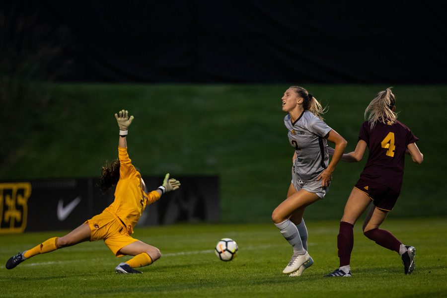 Iowa+midfielder+Hailey+Rydberg+reacts+as+her+shot+drifts+wide+during+Iowa%27s+game+against+Central+Michigan+on+Friday%2C+Aug.+31%2C+2018.+The+Hawkeyes+defeated+the+Chippewas+3-1.