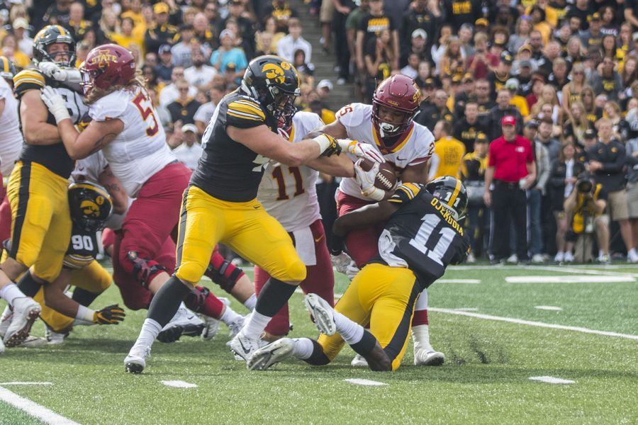 Iowa+State%27s+Sheldon+Croney+Jr+gets+tackled+by+Iowa+defense+during+the+Iowa%2FIowa+State+football+game+at+Kinnick+Stadium+on+Saturday%2C+September+8%2C+2018.+The+Hawkeyes+defeated+the+Cyclones%2C+13-3.