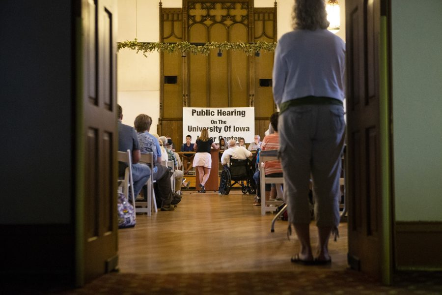 Community members gathered at Old Brick on Monday, Sept. 10, 2018 for a public hearing on the University of Iowa Labor Center. In a second round of midyear budget cuts, the UI chose to close the center in an effort to compensate for state funding cuts.