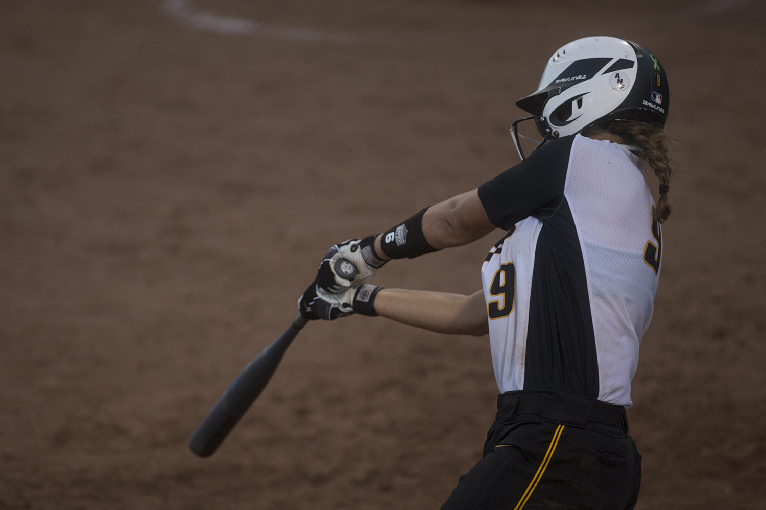 Freshman Abby Lien, utiliy and center, bats during the Iowa v Kirkwood softball game at the Pearl Softball Complex in Coralville on Sept 14, 2018. The Hawkeyes defeated the Kirkwood Eagles 10-6.