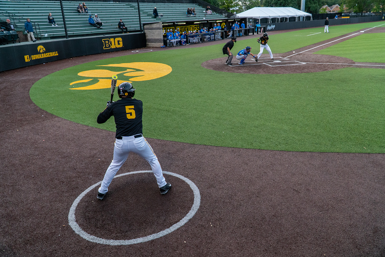 Outfielder Zeb Adreon next at bat during Iowa's game against Ontario Blue Jays at Duane Banks Field on Sept. 21, 2018.
