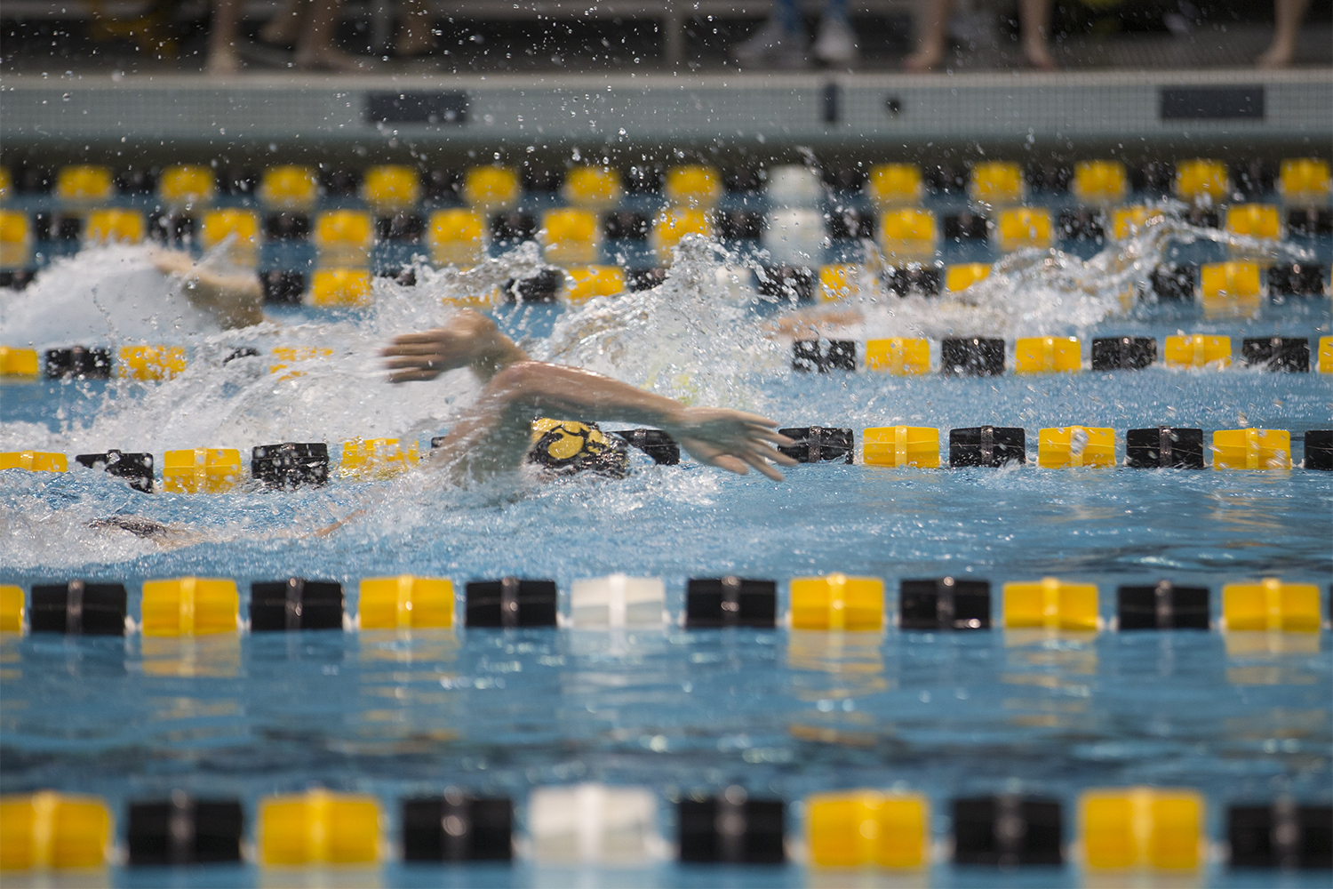Swimmers+compete+in+a+medley+relay+during+the+Iowa+Swimming+and+Diving+Intrasquad+Meet+at+the+Campus+Recreation+and+Wellness+Center+on+Saturday%2C+September+29%2C+2018.