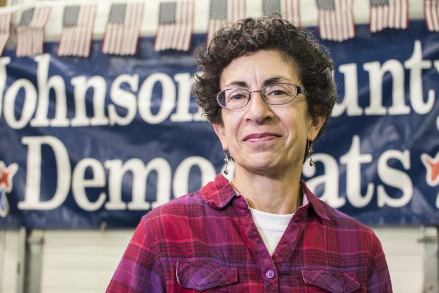 Janice Weiner poses for a portrait during the Johnson County Democrats BBQ at the Johnson County Fairgrounds on Sunday, Oct. 15, 2017.