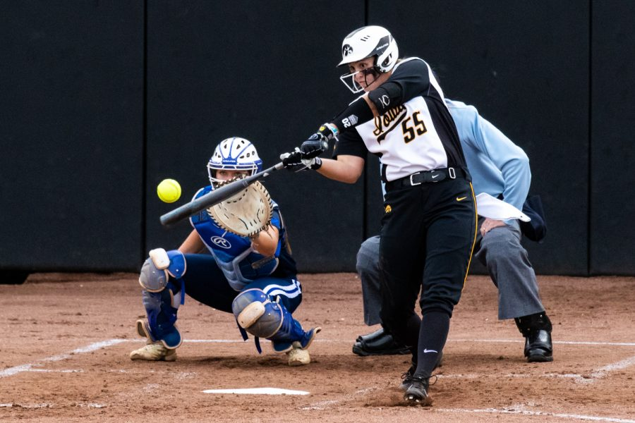 Iowa%27s+Miranda+Schulte+connects+on+what+would+be+a+double+during+a+softball+game+against+Des+Moines+Area+Community+College+on+Friday%2C+Sep.+21%2C+2018.+The+Hawkeyes+defeated+the+Bears+8-1.