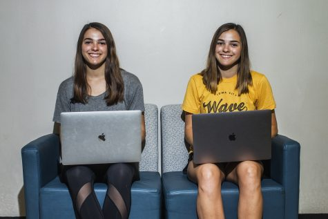 From left: UI sophomores Megan and Ciera Stitz pose for a portrait in the Adler Journalism Building on Tuesday, Sept. 18, 2018. The duo produces YouTube videos and have over 1 million subscribers.