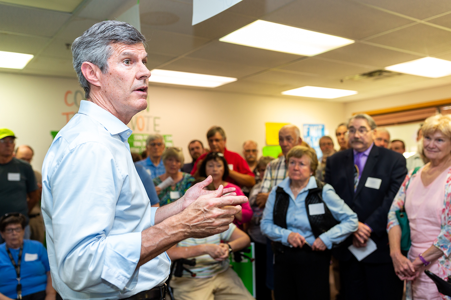 Fred Hubbell, the Democratic nominee for governor, speaks to supporters in Iowa City on Wednesday, Sept. 12, 2018.