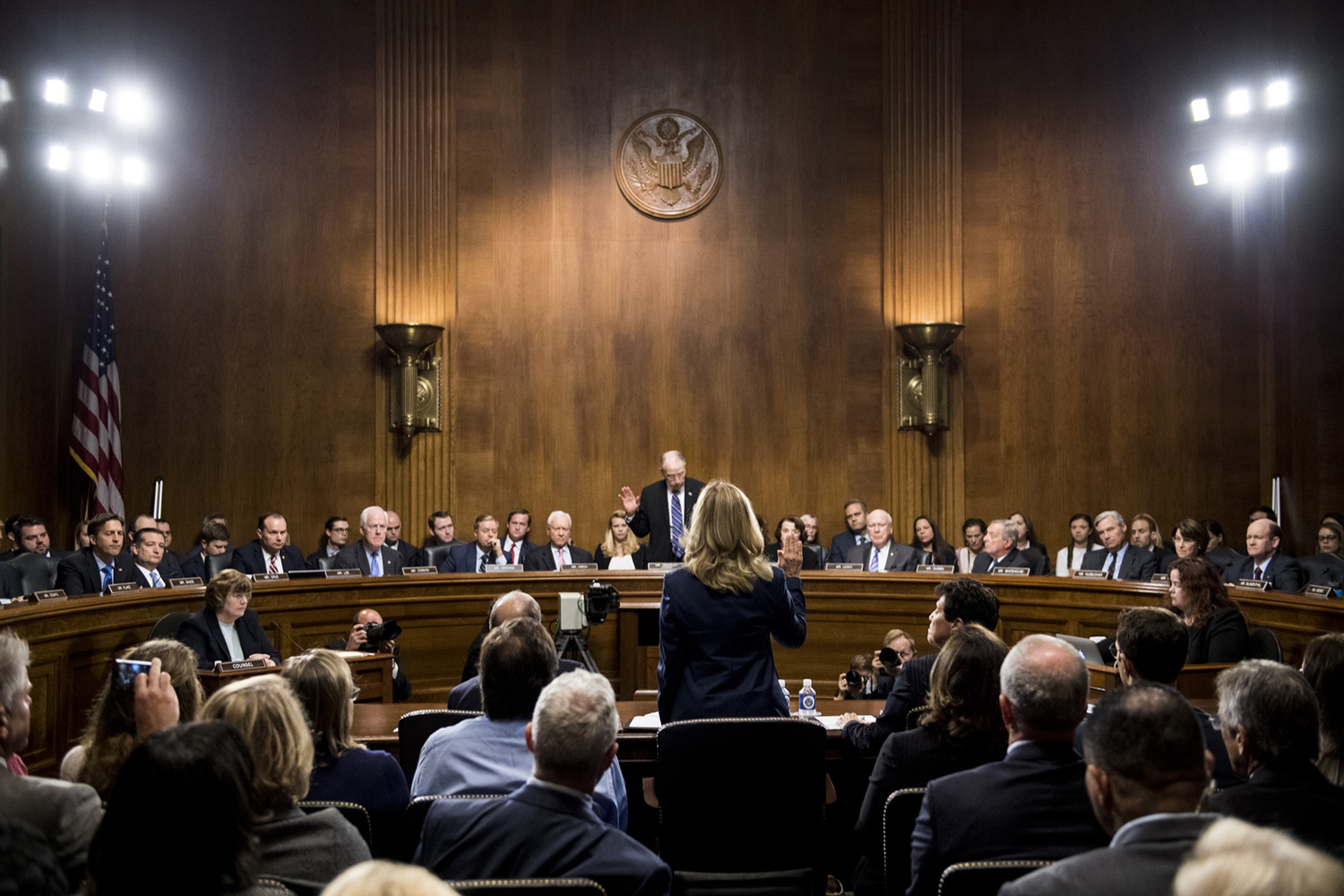 Dr. Christine Blasey Ford is sworn in by chairman Chuck Grassley (R-Iowa) on Thursday, Sept. 27, 2018, during the Senate Judiciary Committee hearing on the nomination of Brett M. Kavanaugh to be an associate justice of the Supreme Court of the United States, focusing on allegations of sexual assault by Kavanaugh against Christine Blasey Ford in the early 1980s. (Tom Williams/Pool/CQ Roll Call/Abaca Press/TNS)