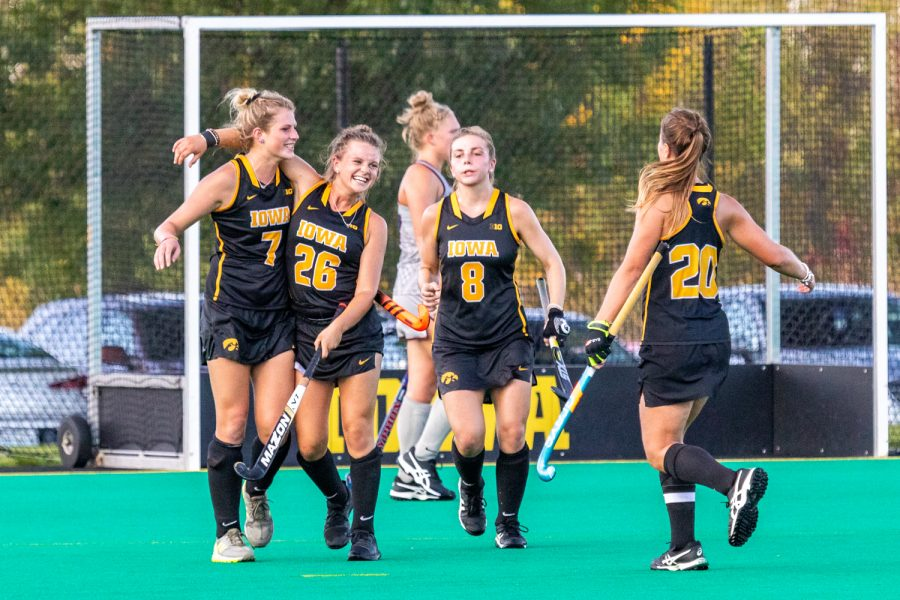 Iowa+forward+Maddy+Murphy+celebrates+after+scoring+a+goal+during+a+field+hockey+match+against+Penn+on+Friday%2C+Sep.+14%2C+2018.+The+Hawkeyes+defeated+the+Quakers%2C+3-0.