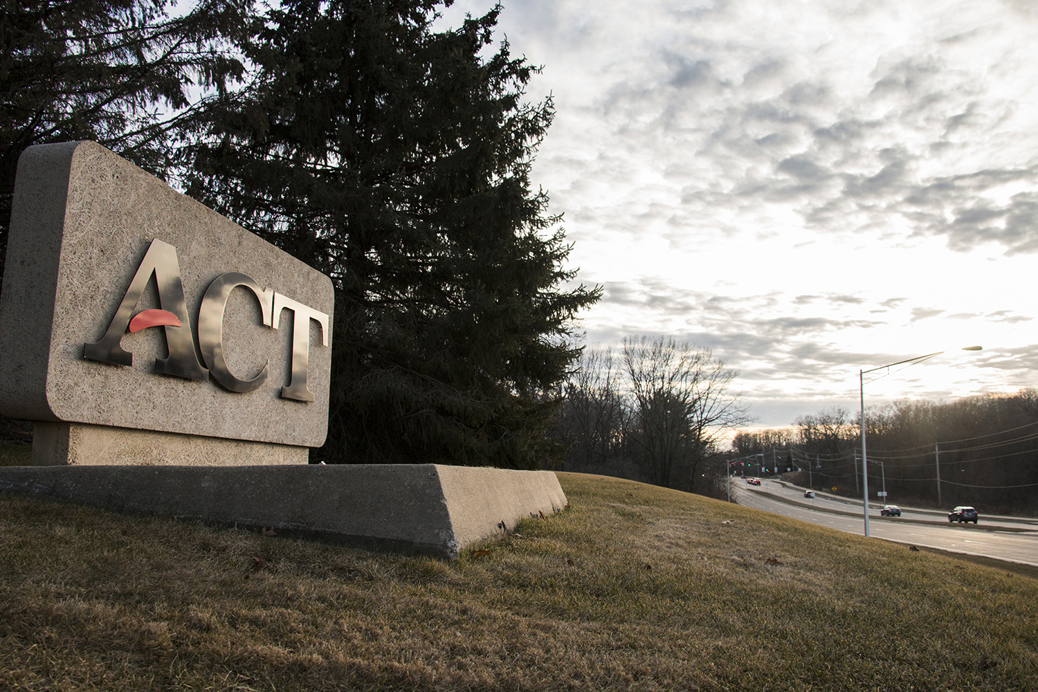 The ACT sign is seen outside of the ACT Headquarters on Monday, March 5, 2018.