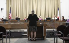 Iowa City sustainability coordinator Brenda Nations addresses the City Council on Tuesday in City Hall. By a 6-0 vote, the council adopted the Climate Action Plan, which aims to significantly reduce greenhouse-gas emissions.