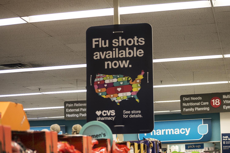 CVS Pharmacy advertises flu shots on Sept. 24, 2018.