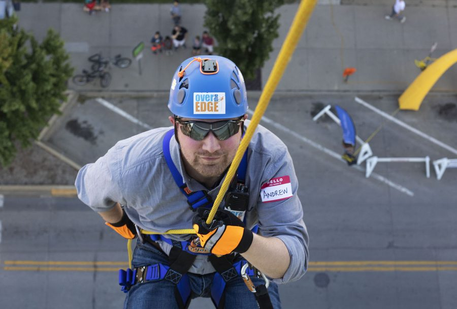 Andrew+Sciranko%2C+a+participant+in+Over+the+Edge%2C+rappels+down+the+side+of+hotelvetro+on+Sept.+14.+