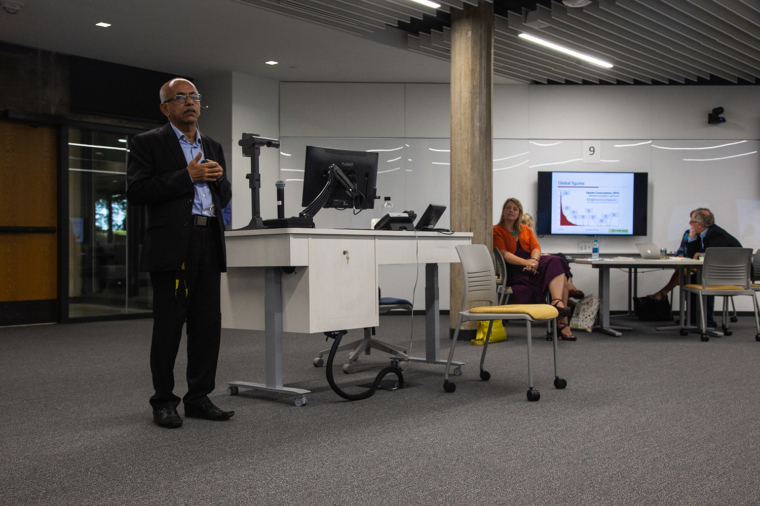 Dr. M. R. Rajagopal speaks at the College of Nursing on Monday, Sept. 17, 2018. Rajagopal was nominated for the 2018 Nobel Peace Prize for his work establishing Pallative care centers and services throughout India.