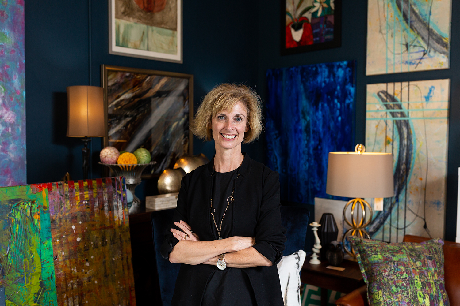 Jan Finlayson, the owner of Luxe Interiors stands in her shop in Iowa City on Thursday, Sept. 6, 2018.